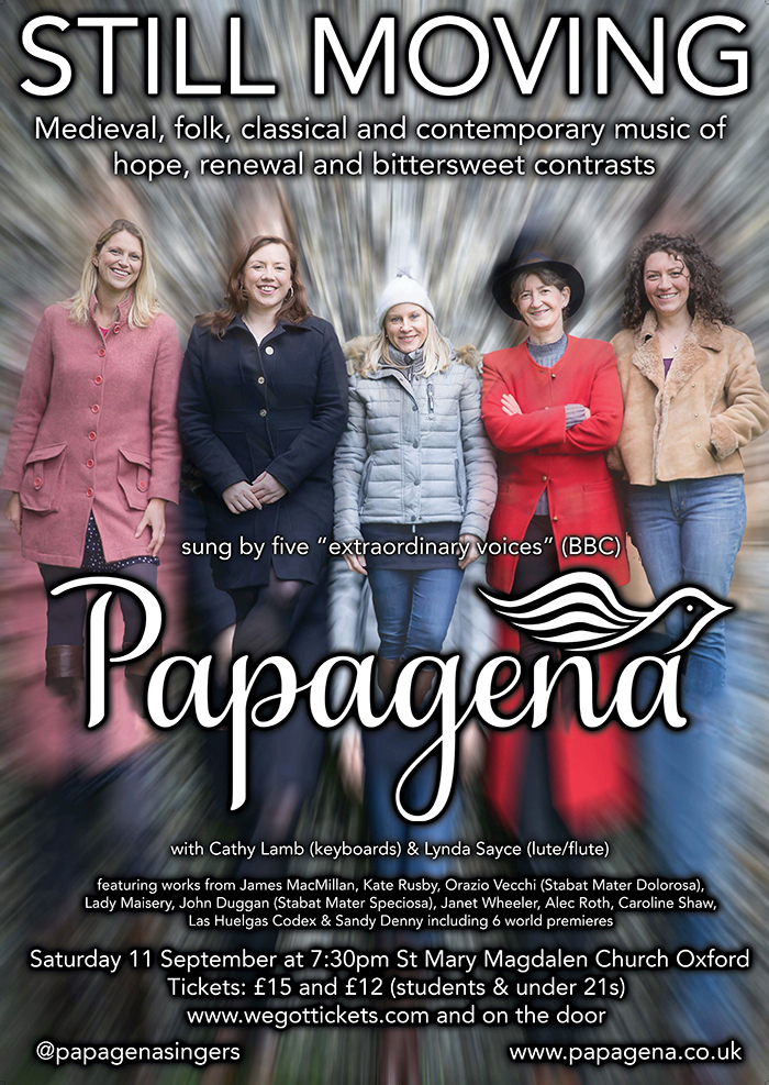Papagena Concert in Oxford. Saturday 11 September.